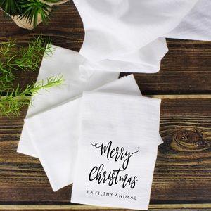 Merry Christmas Ya Filthy Animal Flour Sack Towel